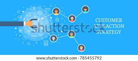 Customer attraction, Customer magnet, Customer retention flat vector banner with icons