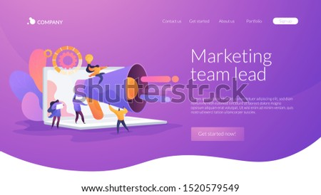 Customer attraction, social media promotion. Digital marketing team, marketing team metrics, marketing team lead, marketing team responsibilities concept. Website homepage header landing web page