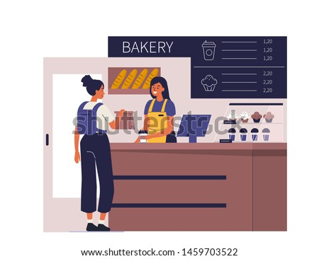 Customer buy coffee and dessert in bakery shop. Can use for backgrounds, infographics, hero images. Flat style modern vector illustration.