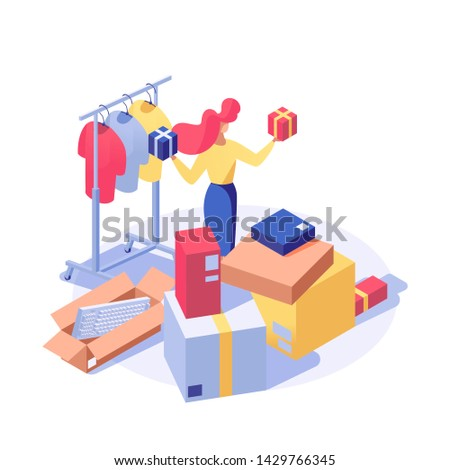 Customer buying products vector isometric illustration. Female seller, shop assistant doing inventory, buyer choosing holiday presents 3d character. Clothes shop, supermarket goods isolated clipart