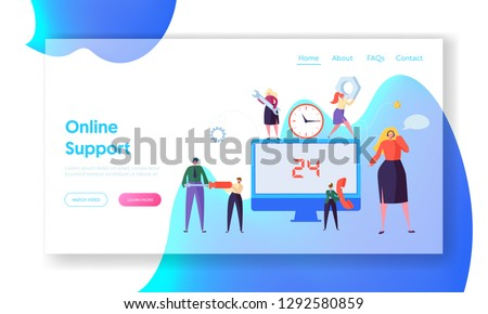 Customer Call Service Online Support Landing Page. Technical Hotline Chat Help Center Assistant Technician Character. Customer Helpline Specialist for Web or Website. Flat Cartoon Vector Illustration #1292580859