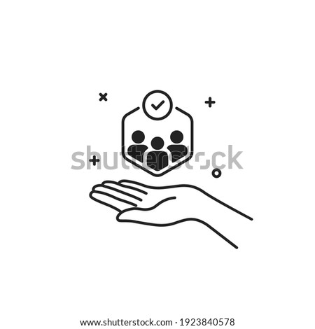 customer care icon like business relationship. concept of individual people choice or good feedback and team narrow control or search talent. outline human resource logotype graphic stroke art design