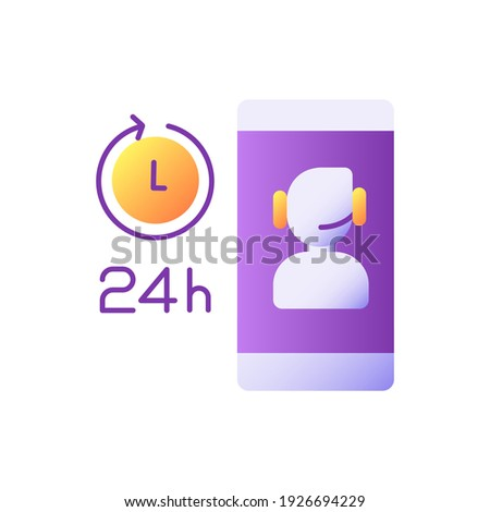 Customer care vector flat color icon. E banking app 24 hours client support. Online contact center. Mobile application operator chat. Cartoon style clip art for mobile app. Isolated RGB illustration