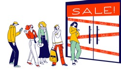 Customer Characters Shopping in Store, Sale, Discount and Special Offer Concept. Diverse People Dressed in Trendy Clothes Standing in Queue Waiting Shop Doors Opening. Linear Vector Illustration