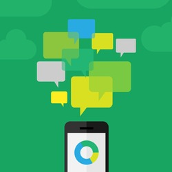 Customer - clients review concept depicted using phone and comment icons