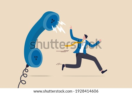 Customer complaint, dissatisfaction from product or service problem, angry feedback from client concept, businessman product owner running away from furious complain telephone from customer or client. Photo stock ©
