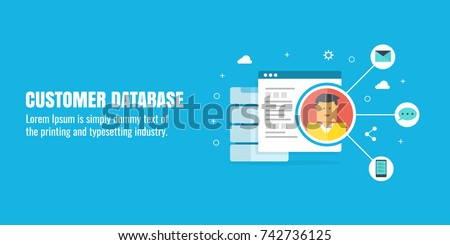 Customer Database, Customer relation management, Flat design vector concept with icons