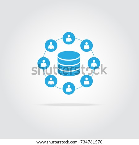 Customer database icon, connecting people in one database