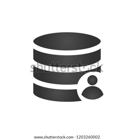 Customer database icon, connecting people in one database, add user to db, account.