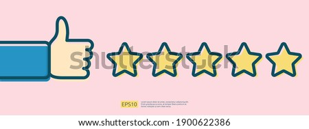 customer evaluating concept with five star good rating feedback. clients satisfaction and positive review experience with stars and thumb up hand vector illustration Foto stock ©