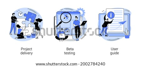 Customer experience abstract concept vector illustration set. Project delivery, beta testing, user guide, software development, new product launch, technical guide, helpdesk abstract metaphor.