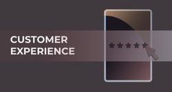 Customer Experience business concept. Happy customer experience receives excellent service puts the highest score of 5 points in the rating, feedback cx survey. Horizontal vector banner for header