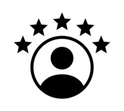 Customer experience or 5 star satisfaction rating flat vector icon for review apps and websites