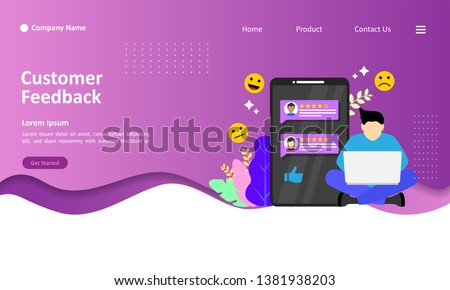 Customer Feedback concept design, people give vote review results. Suitable for web landing page, ui, mobile app, banner template. Vector Illustration