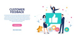 Customer feedback concept. Vector of business people receiving excellent service evaluation, thumbs up gesture