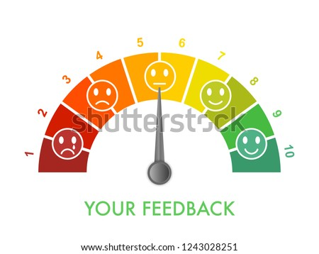 Customer feedback measurement scale 0 to 10, bad to great. Assessment management tool. Arch chart indicates client satisfaction. Vector illustration clipart