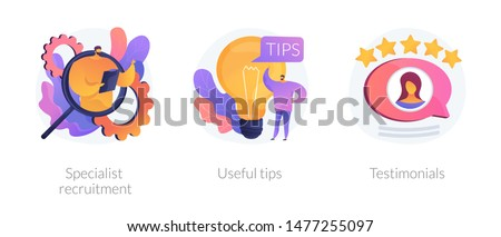 Customer feedback, online service rating web icons set. Helpful information and support. Specialist recruitment, useful tips, testimonials metaphors. Vector isolated concept metaphor illustrations