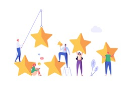 Customer Feedback. People with Five Stars Giving Feedback. Clients Choosing Satisfaction Rating. Concept of Client Feedback, Online Survey, Customer Review. Vector illustration for Web Design