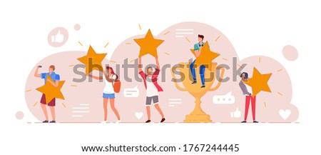 Customer feedback. Positive customer feedback or review evaluation. Man, woman people giving five star rank rating, good satisfaction level. Social media, app usability testimonial vector illustration Сток-фото ©