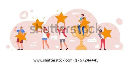 Customer feedback. Positive customer feedback or review evaluation. Man, woman people giving five star rank rating, good satisfaction level. Social media, app usability testimonial vector illustration Stock photo ©