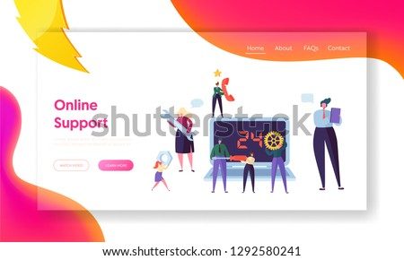 Customer Helpdesk Service Online Support Landing Page. Technical Hotline Call Help Center Engineer Character. Client Helpline Business Operator for Web or Website. Flat Cartoon Vector Illustration