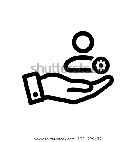 Customer icon with settings sign. Customer icon and customize, setup, manage, process symbol. Vector icon
