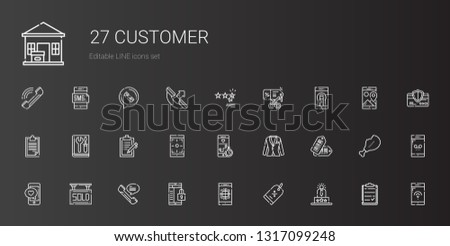 customer icons set. Collection of customer with user experience, discount, smartphone, phone, sold, tags, suit, clipboard, manual, rating. Editable and scalable customer icons.