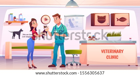 Customer in vet clinic. Young woman giving cat to veterinarian doctor on reception for medical treatment, vaccination or health check up. Animals hospital pets appointment. Cartoon vector illustration