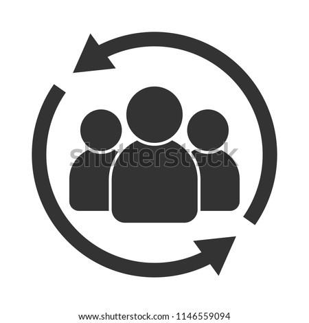 Customer interaction icon. Client returning or renention symbol Foto stock ©