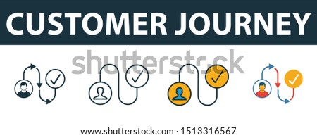 Customer Journey icon set. Premium simple element in diferent styles from crm icons collection. Set of customer journey icon in filled, outline, colored and flat symbols concept.