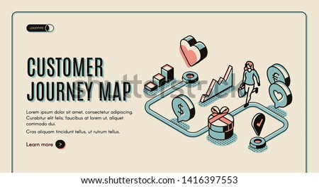 Customer journey map banner. Process of purchasing decision, buyer make purchase moving by specified route, promotion, search website. 3d isometric vector illustration, line art, landing page template