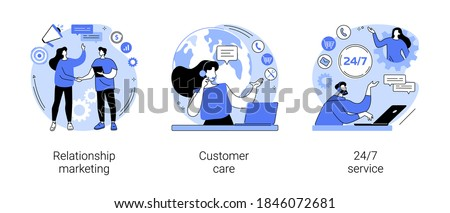 Customer loyalty abstract concept vector illustration set. Relationship marketing, customer care, 24 for 7 service, social media, online tech support, emergency line schedule abstract metaphor.