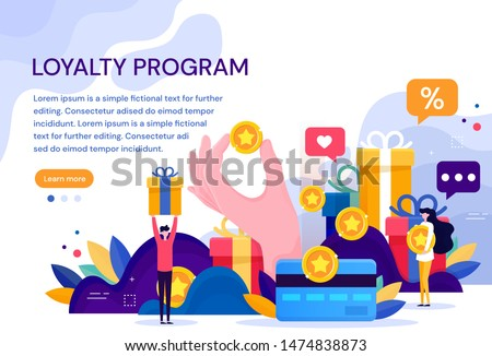 Customer loyalty marketing program, returning customer flat vector illustration with icons and elements. Flat Vector Illustration