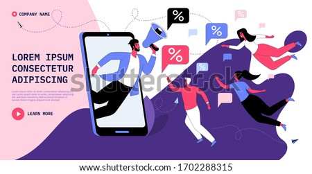Customer loyalty reward program, referral marketing, promotion method. Man with megaphone influences on people, receive discount system, bonus. Vector flat concept for banner, website or landing page
