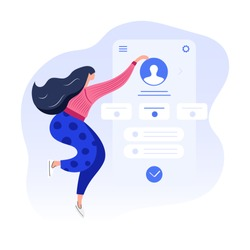 Customer profile account in a mobile application, digital marketing, user overview, data analysis, office work under dashboard. Flat modern vector illustration on white background for landing page.