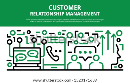 Customer relationship management banner. Outline illustration of customer relationship management vector banner for web design