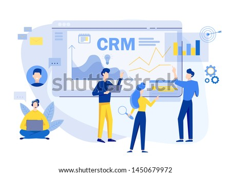 Customer relationship management concept background. CRM vector illustration. Company Strategy Planning. Business Data Analysis