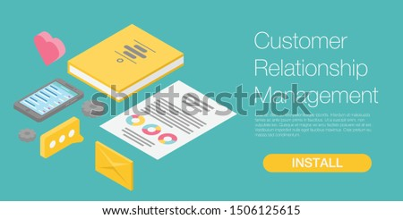 Customer relationship management concept banner. Isometric illustration of customer relationship management vector concept banner for web design