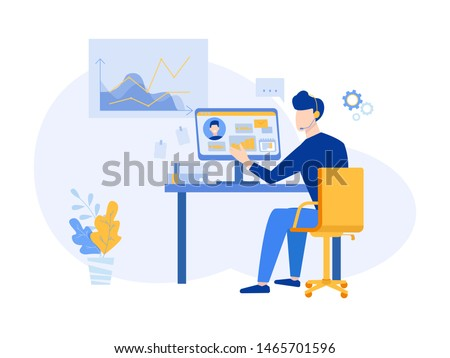 Customer relationship management concept. CRM vector illustration. Company Strategy Planning and Business Data Analysis