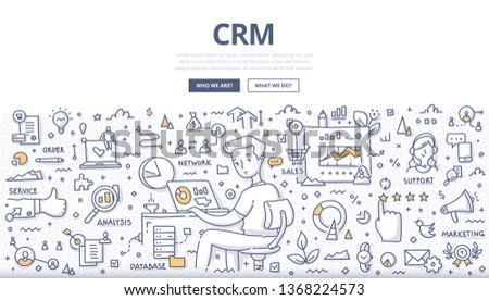 Customer relationship management concept. Managing interaction with current & potential customers. CRM. Client support and data organization. Doodle illustration for web banners, hero images
