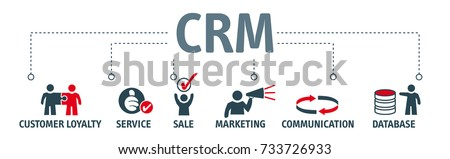 Customer relationship management, concept. Vector Illustration with icons Сток-фото ©