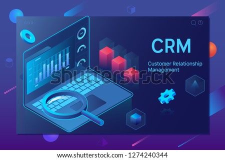 Customer relationship management CRM concept. Outbound marketing vector business in isometric design