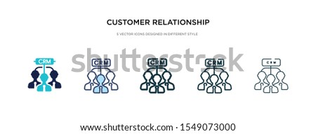 customer relationship management icon in different style vector illustration. two colored and black customer relationship management vector icons designed in filled, outline, line and stroke style