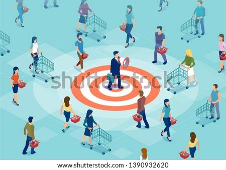 Customer retention and marketing concept. Vector of a businessman making an announcement in megaphone to a targeted audience attracting new shoppers