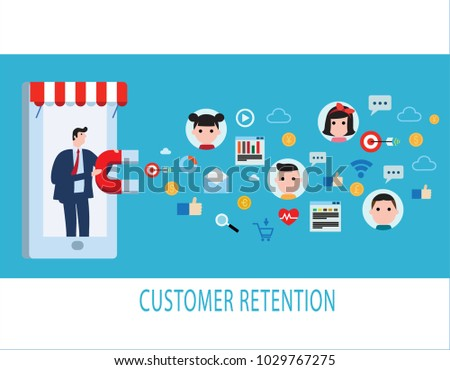Customer retention strategy, Digital inbound marketing, Customer attraction flat vector banner infographics with icons isolated on blue background