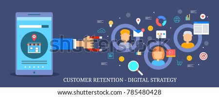 Customer retention strategy, Digital inbound marketing, Customer attraction flat vector banner with icons