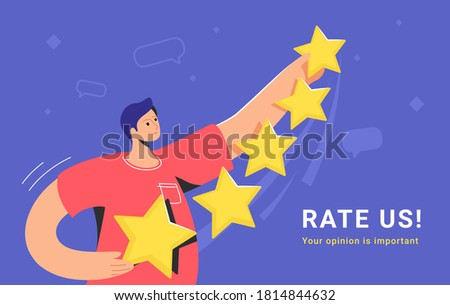 Customer review and user rating five stars. Flat teenage man standing alone and holding some yellow stars to rate a service or goods. Customer feedback and high rating template on blue background