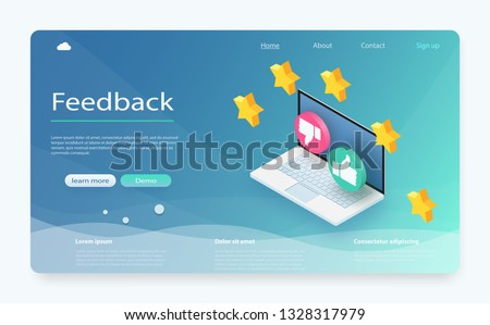 Customer review concept. Feedback, reputation and quality concept. Feedback or rating concept banner. Laptop with reviews stars rate, feedback evaluation. Rating system isometric concept.