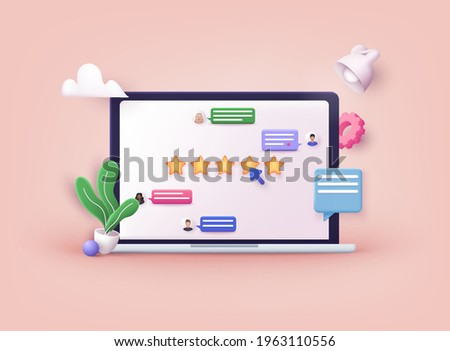 Customer review concepts. hand Showing on five star excellent rating. Reviews stars with good and bad rate and text. 3D Web Vector Illustrations.