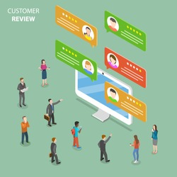 Customer review flat isometric vector concept. Speech bubbles with customer comments are popping out from the PC monitor. People around it are discussing them.